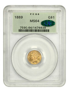 1889 G$1 PCGS/CAC MS64 (OGH) Low Mintage Date, Old Green Label Holder