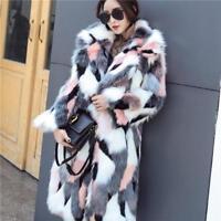 Womens 2019 Multi Color Jacket Fox Fur Outwear Winter Warm Parka Overcoat Coat