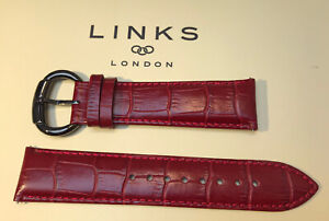 LINKS OF LONDON 22mm RED MOC CROC STRAP, REAL LEATHER, GUN METAL BUCKLE 60901015