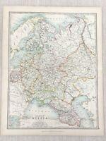 1896 Antik Map Of Russland IN Europa Russisch Reich 19th Jahrhundert Johnston