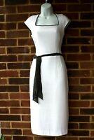 HOBBs White /Black Trim Linen Smart Cap Sleeve Special Occasion Dress Uk 10