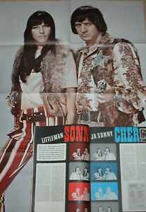 SONNY & CHER, THE BEATLES, ABBA in SUOSIKKI magazine Finland 1966. With poster!!