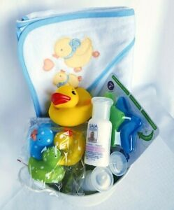 BABY SHOWER GIFT - BOY Bath Gift Hamper, Baby Boy Gift Set, Hooded Towel, Ducks