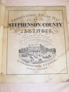 Rare Combination Atlas Map Stephenson County Illinois Thompson Everts 1871