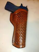 Handmade 1911 Leather Holster, Antiqued Brown Basketweave
