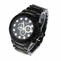 Paul Jardin Heavy Duty All Black Mens Metal Link Band Analog Round Wrist Watch