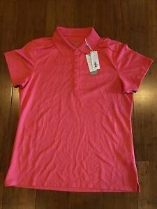 NWT Callaway Hot Pink Golf Polo Shirt Top Women's Size Medium M Short Sleeve