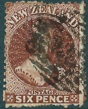 NEW ZEALAND - 1864 QV CHALON 6d 'RED-BROWN' Used SG122 Cv £28 [A0230]