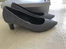 Gabor Pointed Toe Mid Heel Metalic Silver 6 39 Immaculate With Box