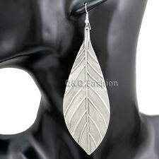 Vintage Silver Big Textured Leaf Feather Zuni Navajo Dangle Earrings Boho Gift W