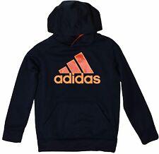 Adidas Youth Boys Performance Pull Over Hoodie Sweatshirt Hooded Top Navy Black