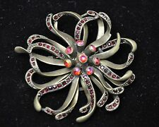 Vintage flower Style Brooches antique bronze/Red high-quality Bouquet  #ST-7