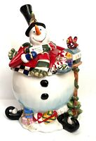 "CUTE Fitz and Floyd Sullivan The Snowman Cookie Jar 12"" EXCELLENT-FREE SHIPPING!"
