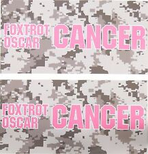 TWO Pack Toolbox Warning STICKERS Foxtrot Oscar BREAST Cancer Awareness Decal
