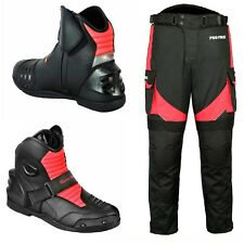 Mens Motorbike Leather Boots Bike Racing Big Pocket Trousers CE Removable Armour