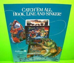 Williams Fish Tales Pinball FLYER Original NOS 1992 Sports Fishing Game Artwork