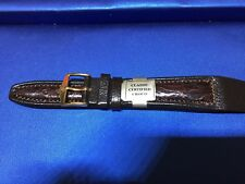 19mm Hirsch Genuine Certified Crocodile Brown PADDED  Stitched Mens Watch Band