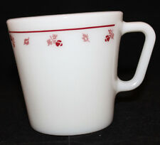 Corning Corelle Pyrex Burgundy Rose Milk Glass Coffee Mug Cup 300ml USA Oven (A)