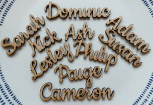 Wooden Wedding Seating Place Names ~ Any word 99p FREE P&P ~ Size 2-2.5cm Tall