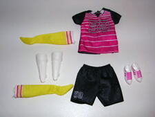 Barbie Made to Move Soccer Doll Outfit Shirt Shorts Shoes Socks & Shin Guards