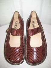 ALEGRIA Leather Brown Snakeskin Mary Jane Shoes Womens Size 39 / 8.5