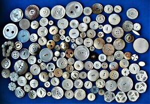 11 Oz Bag of Larger Mostly White Shell Buttons Many Carved 5 Matching Openwork