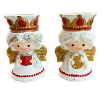 "Vintage HOMCO Set of (2) Christmas Holiday 5"" Angel Candlestick Holders 5203"