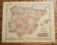 Antique Colored MAP OF SPAIN AND PORTUGAL - Johnson's Family Atlas 1863