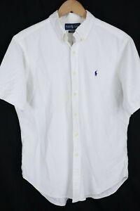 Ralph Lauren Mens sz Large Solid White Seersucker Classic Fit Short Sleeve Shirt