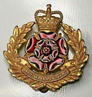 Duke Of lancasters Regiment cap Badge firmin queens Crown Gilt Metal