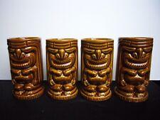 Vtg Tiki Lailani Set of 4 Tiki Mugs Cups Tumblers Barware Luau USA