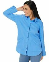 Denim & Co. Womens Plus Waffle Button Front Long-Sleeve Tunic 2X Blue A352531