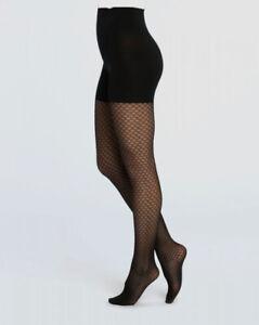 $59 Spanx Women's Black Honeycomb Fishnet Stretch Control-Top Tights Size B