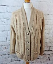 Vintage 70s cardigan L large 18 hand chunky cable knit wool blend oatmeal aran