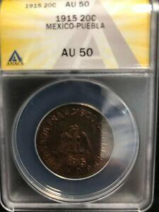 1915 Mexico Revolution 20 Centavos ANACS AU 50 Puebla
