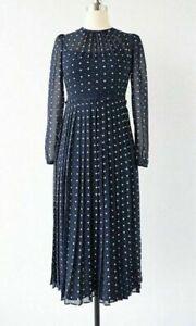 New LK Bennett Avery Navy Polka Dot Midi Dress Size UK 10 12