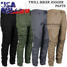 Mens Casual Jogger Pants Twill Biker Slim Fit Elastic Stretch Hip Hop Trousers