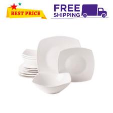 12 Piece Square Dinnerware Set Dinner Dessert Plates Bowls Ceramic White Dishes