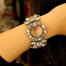 Bracelet Large Art Deco Cristal Transparent Fleur Vintage Original Mariage CT3