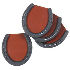 Leather Horseshoe Coasters Caddies Brown Set of Four USA Made