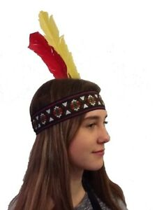 Indian Wide Style Headband With Two Feathers. UK Next Day Dispatch