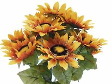 "GOLD YELLOW Sunflowers Bush 11 Artificial Silk Flowers 21"" Bouquet 3023YL"
