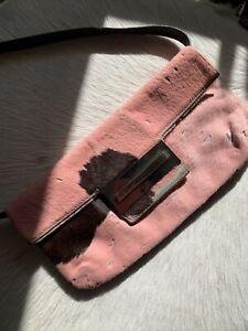 Fendi Y2K Vintage Calfhair Baguette Pink Cowhide Clutch Preowned Bag 2000's