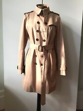 Da Donna BURBERRY Doppio Petto Corto Trench MAC Beige/Marrone UK 10/12