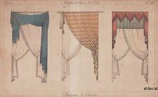 """GRAVURE Couleur """" Drapeies de Croisées """" Rideaux Curtains 1843  - 10h"""