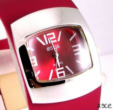 Retro 60s 70s Ossie Eame Bubble Faux Leather Raspberry Red Ladies Pod Watch Cuff