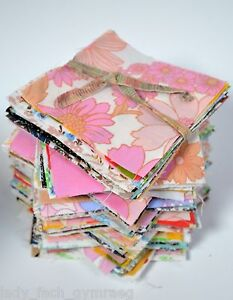 Striking Retro Vintage Cotton Fabric Material Sewing Patchwork Quilting Squares