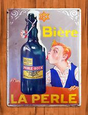 "TIN SIGN ""Biere La Perle"" Vintage Beer Bar Wall Decor"