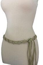 Women Ivory Fashion Tie Belt Hip High Waist Silver Metal Rings  00004000 Faux Suede S M