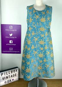 1960s Size 14 Vintage Blue Gold Floral Brocade Boucle Style Shift Dress